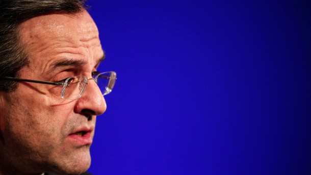 Greek Prime Minister Antonis Samaras speaks at the congress of th