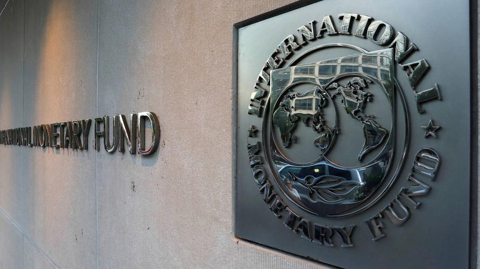 Das Logo des IWF in Washington.