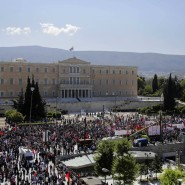 Am Tag der Arbeit haben auch in Athen Tausende Gewerkschafter demonstriert.