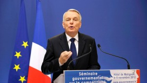 French PM Ayrault speaks during a news conference to outline the Socialist government's plans for restoring industrial competitiveness in response to Gallois' commissioned report at the Hotel Matignon offices in Paris