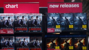 Movies are seen on sale in a branch of British retail music chain HMV on Oxford Street in London
