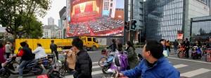 Im Mittelpunkt des Interesses: Der Parteikongress in Peking lähmt sogar den Straßenverkehr.