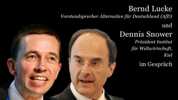 Bernd Lucke (l) und Dennis Snower