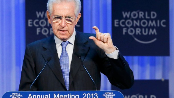 Outgoing Italian Prime Minister Monti addresses the annual meeting of the World Economic Forum (WEF) in Davos
