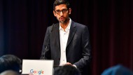 Google CEO Sundar Pichai speaks during the opening day of a new Berlin office of Google in Berlin.