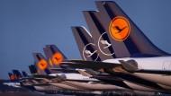 Notgedrungen stillgestanden: Lufthansa-Maschinen parken am Münchener Flughafen.