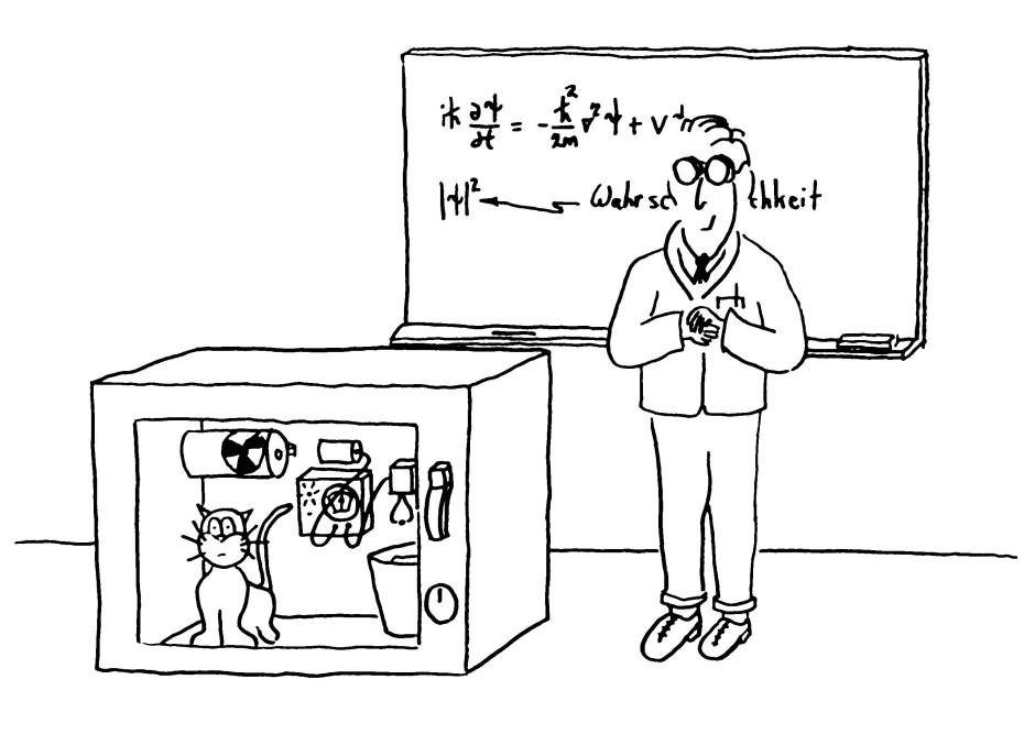 Robert Laughlin ist auch ein leidenschaftlicher Pianist und Cartoonist. Hier Schrödingers Katze im quantenphysikalischen Schwebezustand zwischen tot und lebendig.
