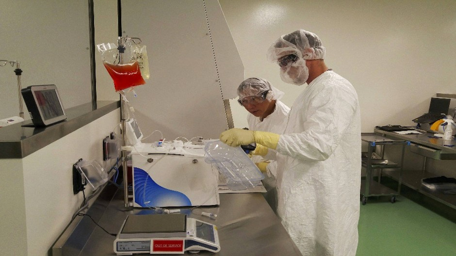 Mitarbeiter von Kite Pharma präparieren Blutzellen für die Immuntherapie mit T-Zellen.