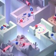 """Illustration des Spielemodus """"Capture the flag"""" mit verschiedenen gleichzeitigen Optionen der unterschiedlichen Spieler."""