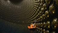 Blick ins Innere des Wassertanks von Super-Kamiokande, während Wartungsarbeiten. Die Innenwand ist mit 13.000 Lichtsensoren ausgestattet. Sie registrieren die von den Neutrinos erzeugte Tscherenkow-Strahlung.