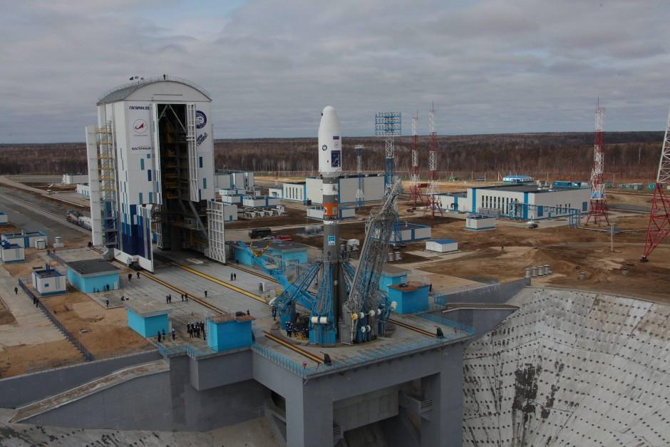 Blick auf das neue Kosmodrom Wostotschny