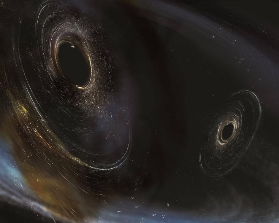 Illustration von zwei Schwarzen Löchern