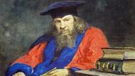 Dimitri Iwanowitsch Mendelejew (1834 bis 1907) im Talar der University of Edinburgh. Ein Wasserfarbenportrait des russischen Malers Ilja Repin aus dem Jahr 1885.