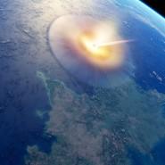 Illustration des Asteroideneinschlags im heutigen Golf von Mexiko, der den Chicxulub-Krater verursacht hat.