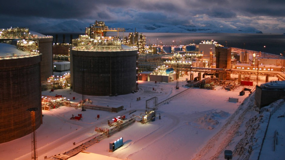 Erdgasverflüssigungsanlage auf der norwegischen Insel Melkoya. Norwegen gehört zu Europas wichtigsten LNG-Förderern.