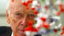 Nobelpreisträger James D. Watson posiert vor einem DNA-Modell (Archivbild von 2004)