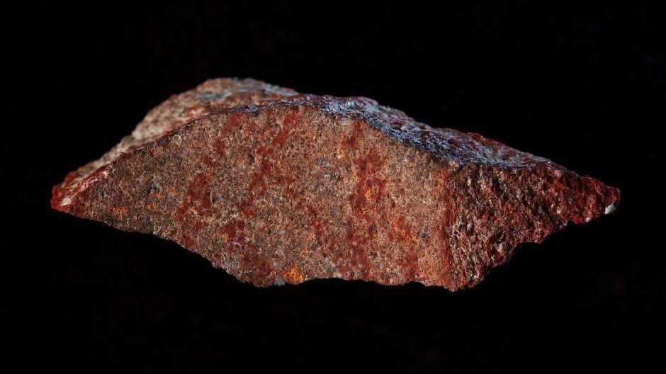 75.000 - 100.000 Jahre alte Steinmalerei aus einer südafrikanischen Höhle