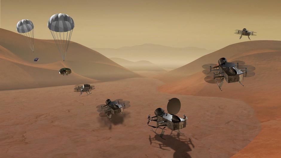 Die Drone Dragonfly hüpft auf dem Saturnmond Titan herum.