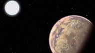Künstlerische Phantasie einer verschmutzten Alienwelt: Die Atmosphäre dieses erdähnlichen Exoplaneten zeigt eine verräterische Färbung. Achtung, hier sind außerirdische Umweltsünder am Werk.