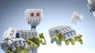 Illustration: DNA-Roboter, erschaffen aus dem Bio-Baukasten.