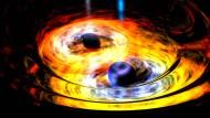 Gravitationstango von zwei Schwarzen Löchern.