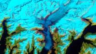 Der Columbia-Gletscher in Alaska, Satellitenaufnahme vom 30.Mai 2011