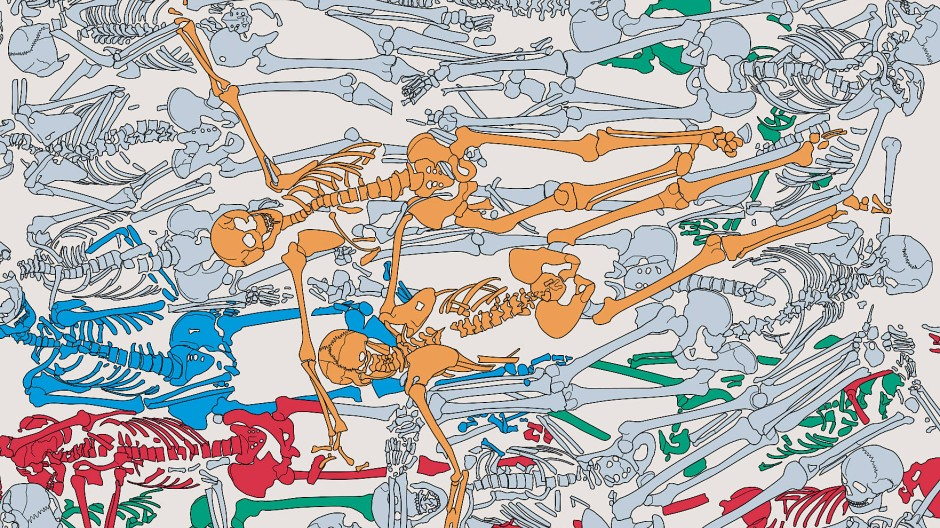 Das Massengrab von Lützen. Die grün markierten Körper wurden zuerst in die Grube gelegt, dann blaue und rote. Die gelben kamen am Schluss, als Letzter ein Mann mit erkennbar kürzerem Oberschenkel.