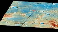 """Die Absturzstelle der Sonde: Der große Krater auf der linken Seite, """"Janacek"""", hat einen Durchmesser von rund 48 Kilometern."""