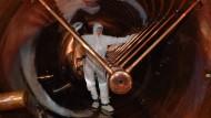 Blick in den 120 Meter langen Linearbeschleuniger bei GSI, der die Kalziumionen beschleunigte, bevor sie mit den Berkliumkernen zusammenprallten.