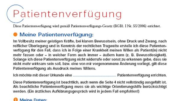 Für die Zeit nach der Kommunikation: das österreichische Formular für eine  P