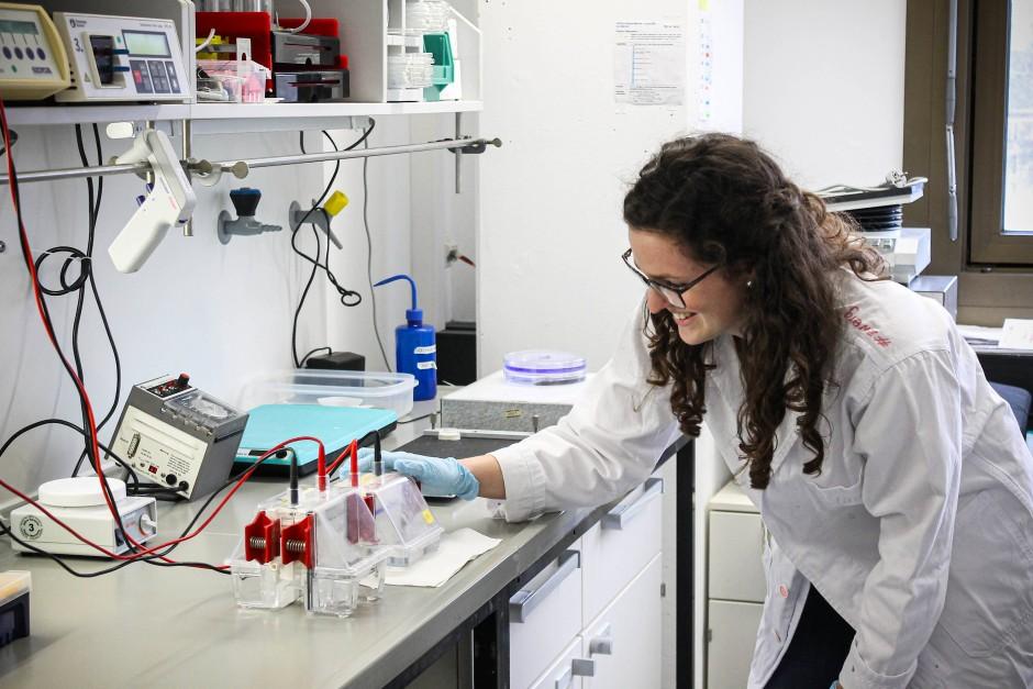 Clarissa Lanzloth an einer Elektrophorese-Apparatur zur Auftrennung und Analyse von Proteinen.