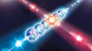Quantenspeicher: Mit Laserstrahlen unterschiedlicher Farbe werden die Daten in die sechs Kalzium-Ionen eingeschrieben.