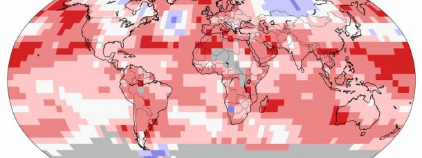 Temperaturanomalien im September 2014: Die dunkel rot markierten Stellen zeigen Rekordwärme an, dunkelblau Rekordkälteregionen.
