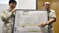 Stolz präsentieren Kosuke Morita (rechts ) und  Koji Morimoto vom japanischen Forschungszentrum Riken ihre Entdeckung, Element 113.