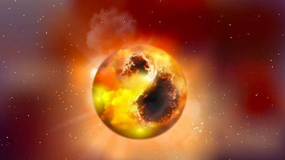 Künstlerische Darstellung des Roten Überriesen Beteigeuze. Seine Oberfläche ist von großen Sternflecken bedeckt, die seine Helligkeit vermindern.