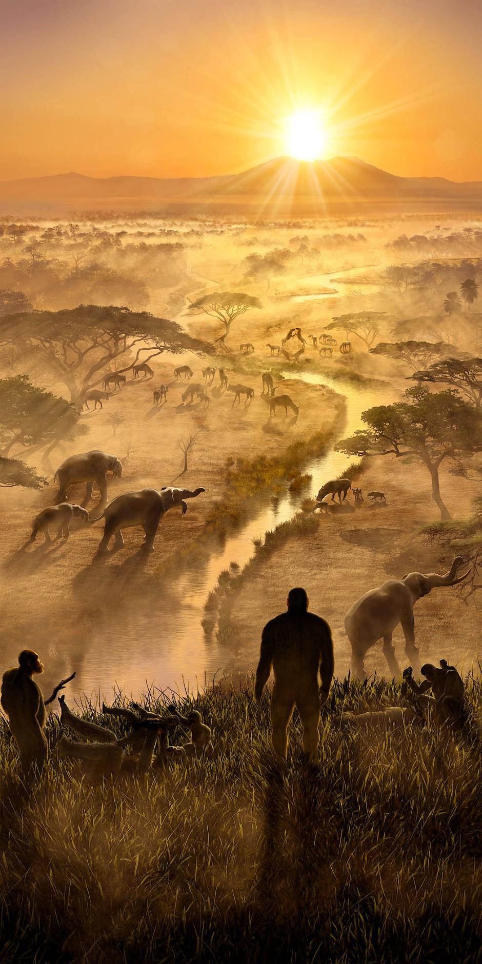 """Eine nachgestellte Szene, 2,3 Millionen Jahre vor heute, aus der Ausstellung des Hessischen Landesmuseums Darmstadt """"Expanding Worlds""""."""