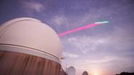 """Die Bodenstation am Observatorium Lustbühel in Graz tauscht mit dem chinesischen Satelliten """"Micius"""" Lichtteilchen aus."""