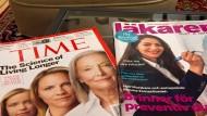 Im Wartebereich der Präventionsklinik: Auf Zeitschriftentiteln wird die Langlebigkeit und Klinikchefin Mouna Esmaeilzadeh gefeiert. Schwedische Medien haben die Erfolgsgeschichte der jungen Ärztin entdeckt.