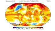 Beunruhigende  Forschungsergebnisse, zusammengefasst in jeweils einem Bild: Die Nachrichten über die Erderwärmung wurden zuletzt immer schriller. Unsere Grafiken, die aus den jüngsten Forschungsstudien erzeugt wurden, bezeugen den beschleunigten Wandel im Eis, in den Böden und in den Ozeanen.   Exemplarisch für die eklatante Beschleunigung der Erderwärmung: Die Abweichung der jüngsten November-Durchschnittstemperaturen verglichen mit dem langjährigen Mittelwert (1951 bis 1980).