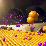 Materialforschung am Computermodell: Die Oberfläche eines Hochtemperatur-Supraleiters wird mit Strontiumatomen (violett) bedampft. Die Atome versehen das Material mit zusätzlichen Ladungsträger und erhöhen so dessen Leitfähigkeit.