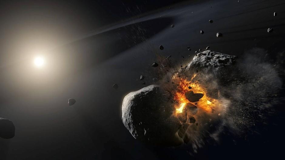 Pseudoplanet: Künstlerische Darstellung der Kollision zweier Asteroiden