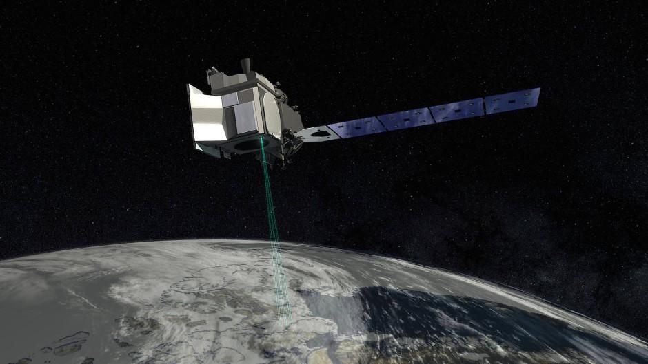 """Illustration des Erdbeobachtungssatelliten  """"ICESat-2"""""""