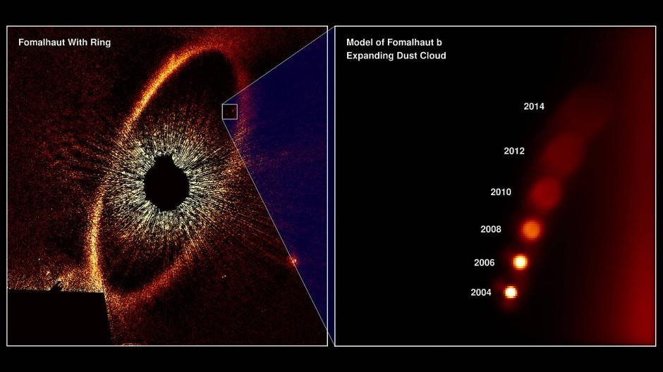 Das Stern Fomalhaut (ausgeblendet) ist von einer expandierenden Staubwolke (brauner Ring, Abb. links) umgeben. In der rechten Abbidung sieht man den vermeintlichen Exoplaneten Fomalhaut b, wie er von 2004 bis 2013 allmählich an Kontur verliert und sich auflöst.