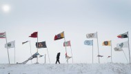 """Ein Blizzard erreichte vor wneigen Tagen das Sioux-Reservat """"Oceti Sakowin Camp"""" in North Dakota."""