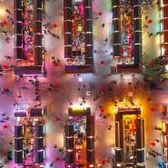 Diese Luftaufnahme vom 2. April zeigt den Nachtmarkt in Shenyang in der nordöstlichen chinesischen Provinz Liaoning.