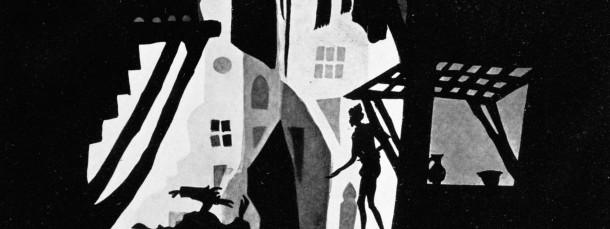 """Im Animationsfilm """"Die Abenteuer des Prinzen Achmed"""", geschaffen 1923 bis 1926 von der Silhouettenkünstlerin Lotte Reiniger, werden mehrere Geschichten aus """"1001 Nacht"""" miteinander verwoben."""