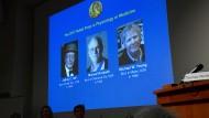 Verkündung der Medizin-Nobelpreise 2017 am Karolinska-Institut in Stockholm.