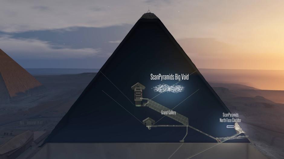 Die Computergrafik zeigt einen Schnitt durch die Cheops-Pyramide. Dargestellt ist der korridorartige Hohlraum in der Mitte. Darunter verläuft die Große Galerie, die zur Königskammer führt.