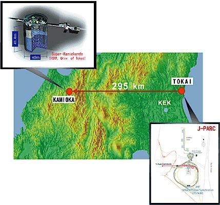 Geographische Lage des T2K-Experiments