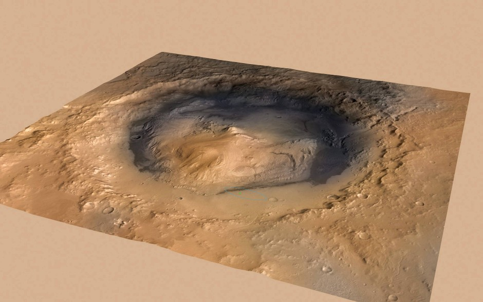Eine Aufnahme des Gale-Kraters, in dem schon früher austretendes Methan gemessen worden war.